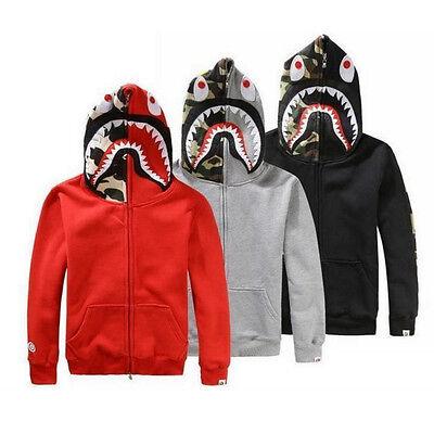 4fe16124 ... SHARK Head Camo Bape A Bathing Ape Jacket FULL ZIP HOODIE Long Sleeve  Coat New 2