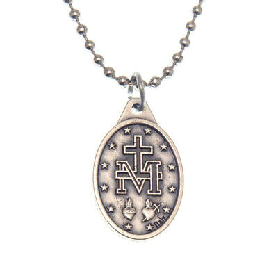 "Miraculous Medal Virgin Mary Pendant Necklace 24"" Chain Italy Silver Tone Alloy 2"
