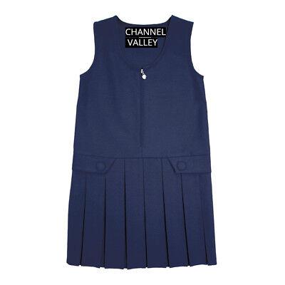 Girls School Uniform Pinafore  Box Pleated Elasticated waist school kids Skirt 8