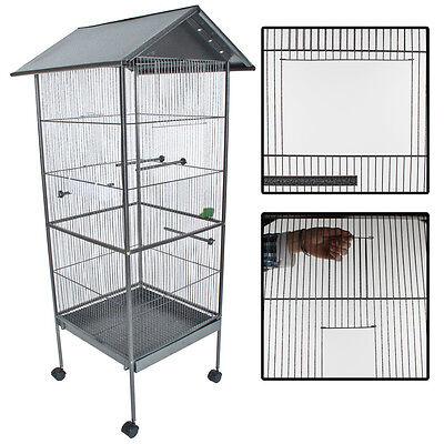 Volière cage à oiseaux canaris perruches perroquets metal argentée 162cm haute 3