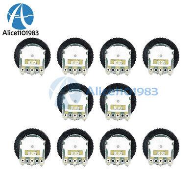 20PCS B103 10K Ohm 3-Pin Single Linear Dial Wheel Potentiometer 16MM x 2MM NEW