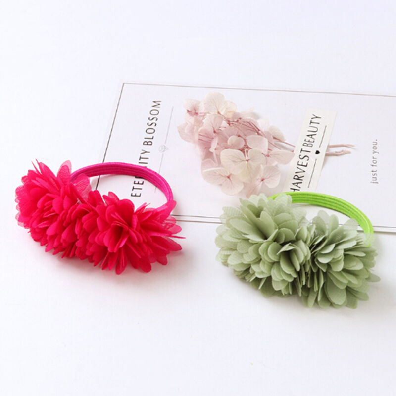 Multi-layer Flower Elastic Hair Bands Hair Clips Girls Kids Hair Accessories 2
