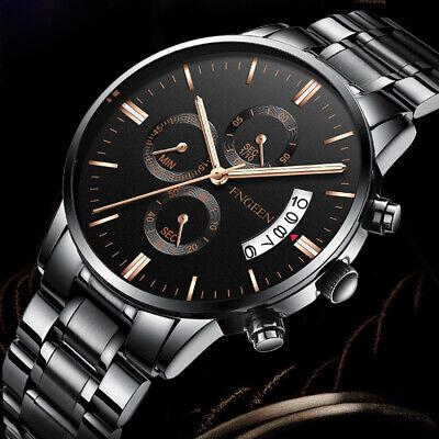 Luxury Mens Watches Quartz Stainless Steel Analog Sports New Wrist Watch #UK 2