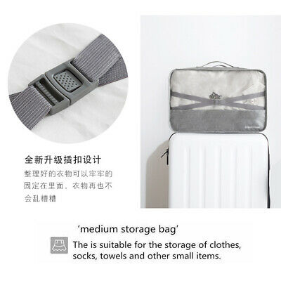 7Pcs Packing Cubes Travel Pouches Luggage Organiser Clothes Suitcase Storage Bag 6
