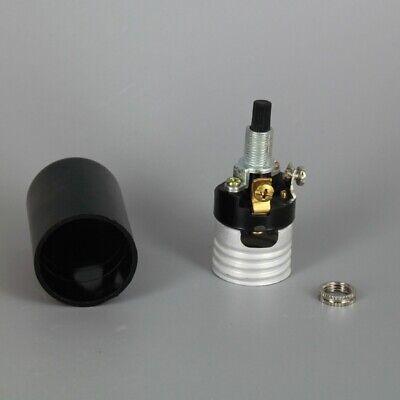 Black Plastic Husk 2 Piece Bottom Turn Knob Lamp Socket Medium Base 30147J 4