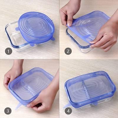 Stretch Reusable Silicone Bowl Wraps Food Saver Cover Seal Lids NSTA LIDS 6 PCS 8