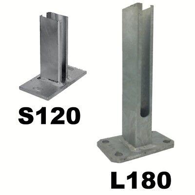 Bodenplatte 125x125mm für 60x40 mm Pfosten Dübelplatte Fußplatte Stabmatten