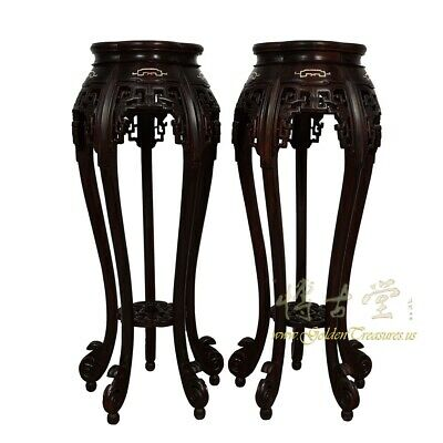 Rare Antique Chinese Rosewood Pedestal Table/Plant Stand w/MOP inlay 11