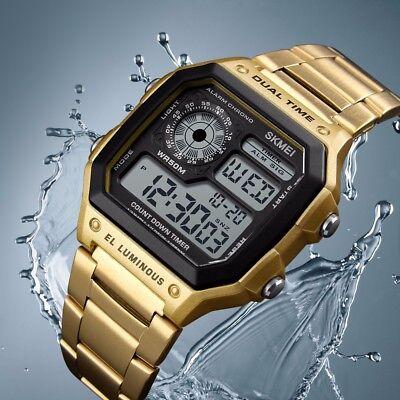 SKMEI Men Luxury Waterproof Alarm Stainless Steel Digital Square Wrist Watch US 7