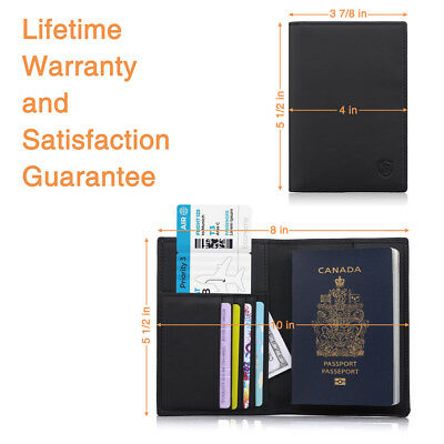 100% Genuine Soft Leather RFID Passport Visa Cover Wallet Business Card Holder 6