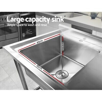 Cefito Stainless Steel Sink Bench Kitchen Work Benches Single Bowl 100x60cm 304 6