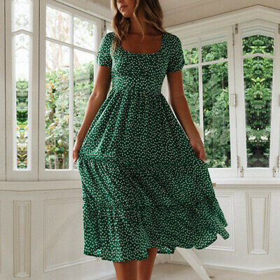 Women Vintage Floral Midi Dress Ladies Summer Beach Short Sleeve Casual Dress 5