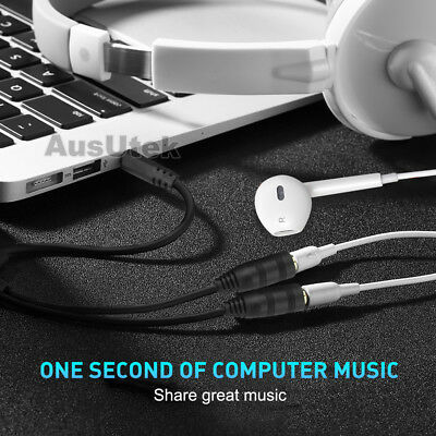 3.5mm Earphone Headphone Stereo Y Splitter Double Adapter Jack iPod iPhone Audio