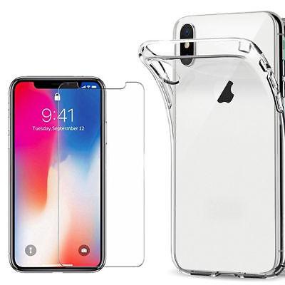 100% Verre trempé Film Protection écran+ Coque crystal iPhone X XS Max XR 8 7 6 8