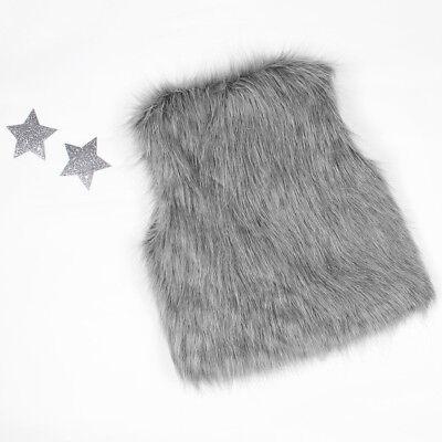 Baby Girls Kid Winter Faux Fur Waist Gilet Jacket Outwear Vest Coat Waistcoat AE 9