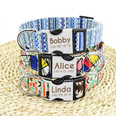 Nylon Personalized Dog Collar Small Large Engraved Buckle Custom ID Name Tag SML 8