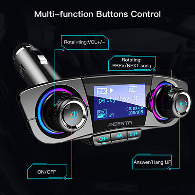 Bluetooth Handsfree Car Kit FM Transmitter Modulator Aux Audio USB Music Player 4