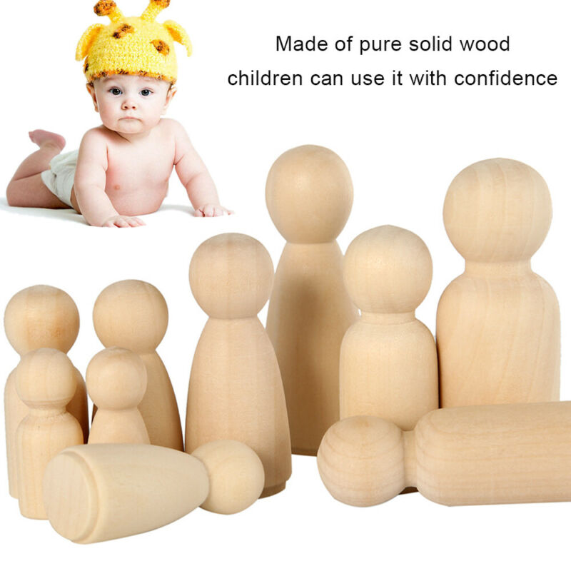 50PCS DIY Wooden Peg Doll Unfinished Family People Wedding Craft Man/Lady/Kids 7