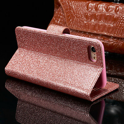 Bling Glitter Magnetic Flip Cover Stand Wallet Leather Case For iPhone 6s 5s 7 8 4
