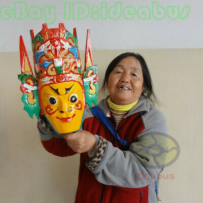 Chinese Folk Art Wood Hand Carved Painted NUO MASK Walldecor - Dixi(local drama) 3