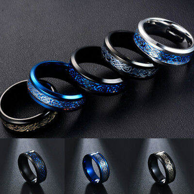 Punk Men Women Dragon Design Rings Jewelry Stainless Steel Band Size 7-11 New 3
