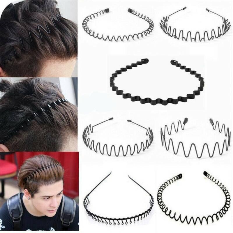 Unisex Men's Women Sports Wave Hair Band Metal Black Hairband Headband Headwear 7