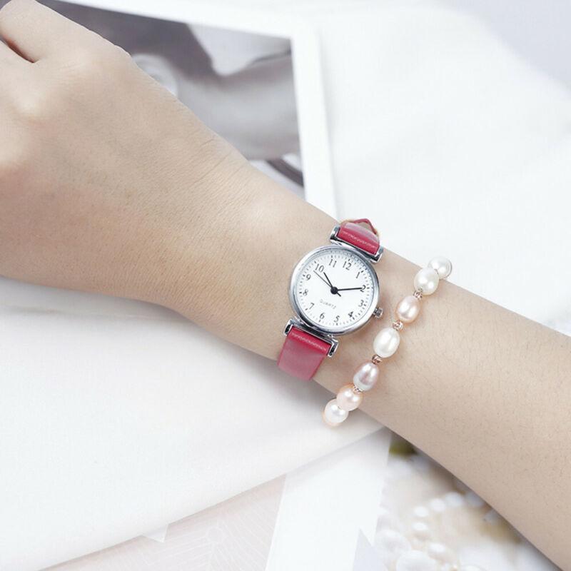 Women's Casual Quartz Leather Band Strap Watch Round Analog Wrist Watch Watches 9
