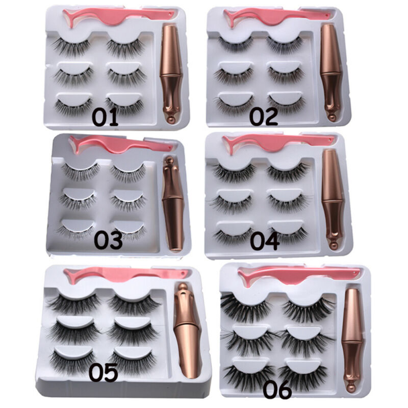 SKONHED 3 Pairs Magnetic Eyelashes With 1Pc Magnetic Eyeliner and Tweezer Set A+ 3