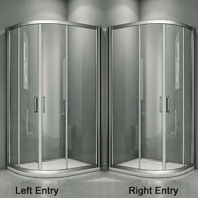 Aica Offset Quadrant Shower Enclosure and Tray Corner Cubicle Glass Door Screen 4