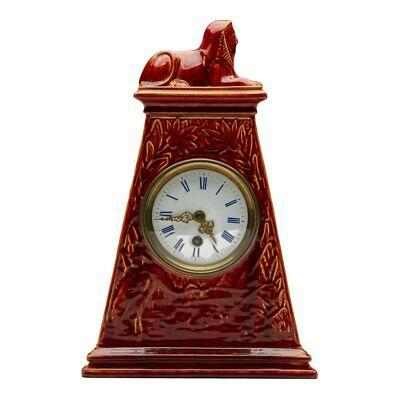 Burmantofts Faience Mantel Clock With Sphinx 2