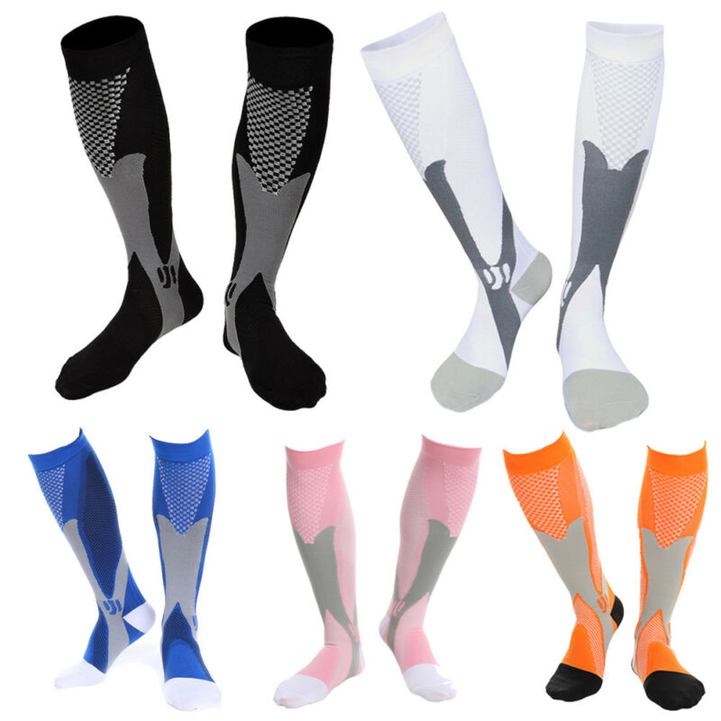 Compression Socks Medical Travel Flight Stocking Running Anti Fatigue Unisex NEW 7