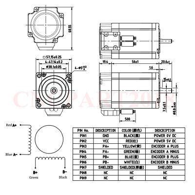 Nema23 Closed Loop 1.2NM Hybrid Stepper Motor Servo Driver 4.5A 2ph Power Supply 2