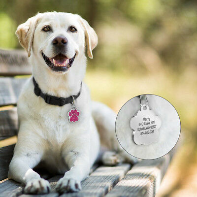 Glitter Paw Print Dog Tag Personalized Engraved Cat Pet ID Name Tag Bone Shape 6