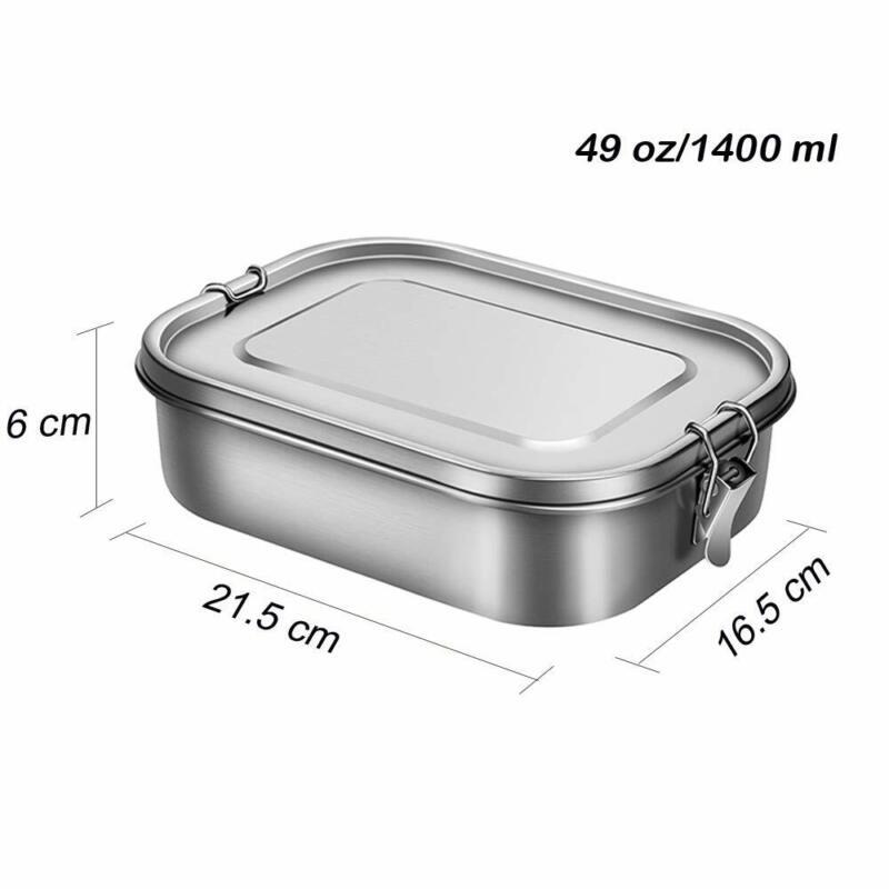 1200ml/1400ml Lunchbox aus Edelstahl Bento Box mit 3 Fächern langlebig Brotdose 12