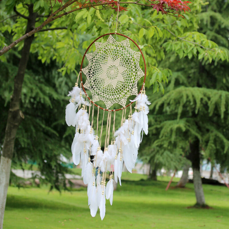 43 inch Large Handmade Dream Catcher With White Feathers Bead Kids Room Decor US 3
