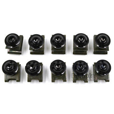 10PCS 6mm M6 Fairing Bolts Speed Fastener Clip Screw Nuts Motorcycle Universal 3