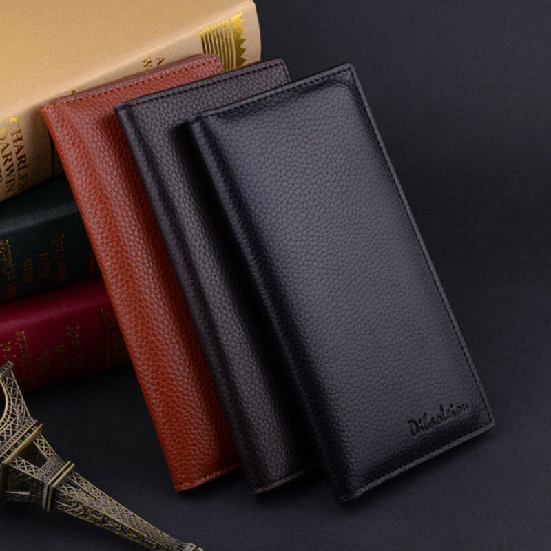 Luxury Business Mens Long Casual Leather Wallet Pockets Card Clutch Bifold Purse 2