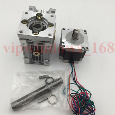 Nema23 Stepper Motor 11Nm Worm Gearbox 10:1 Speed Reducer Kit CNC Router Milling 3