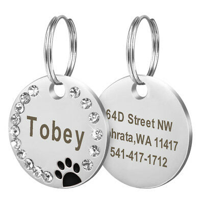 Personalized Dog Tags Paw Rhinestone Pet Cat ID Name Tag Engraved Free Hair Bows 2