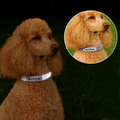 Reflective Personalised Dog Collar Cat Puppy Small Dog Collar Name Phone Engrave 11