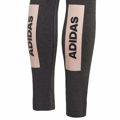 Adidas Girls ID Linear Tights Training Running Sports Grey Climalite Cotton new 3