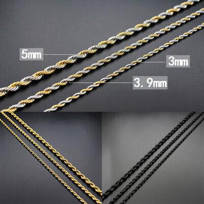 Collar/Cadena para hombres y mujeres de Acero inoxidable titanio Oro negro 3 5mm 2