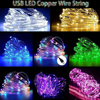 10M USB 100LED Copper Wire String Fairy Light Strip Lamp Xmas Party Waterproof