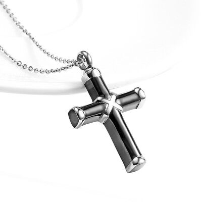 Black & Silver Cremation Urn Ashes Holder Stainless Memorial Men Cross Necklace 3