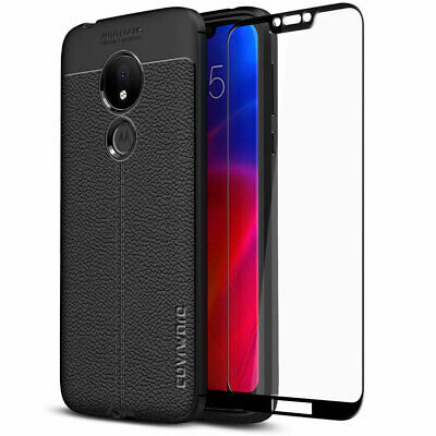 Moto G7 Power TPU Leather Case Cover Tempered Glass Screen Protector Slim Skin 2
