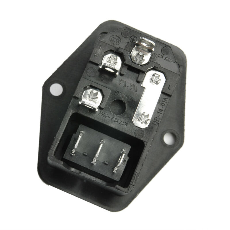 URBEST 10A 250V AC Rocker Switch 3 Pin IEC320 C14 Inlet Module Plug 5A Fuse 6