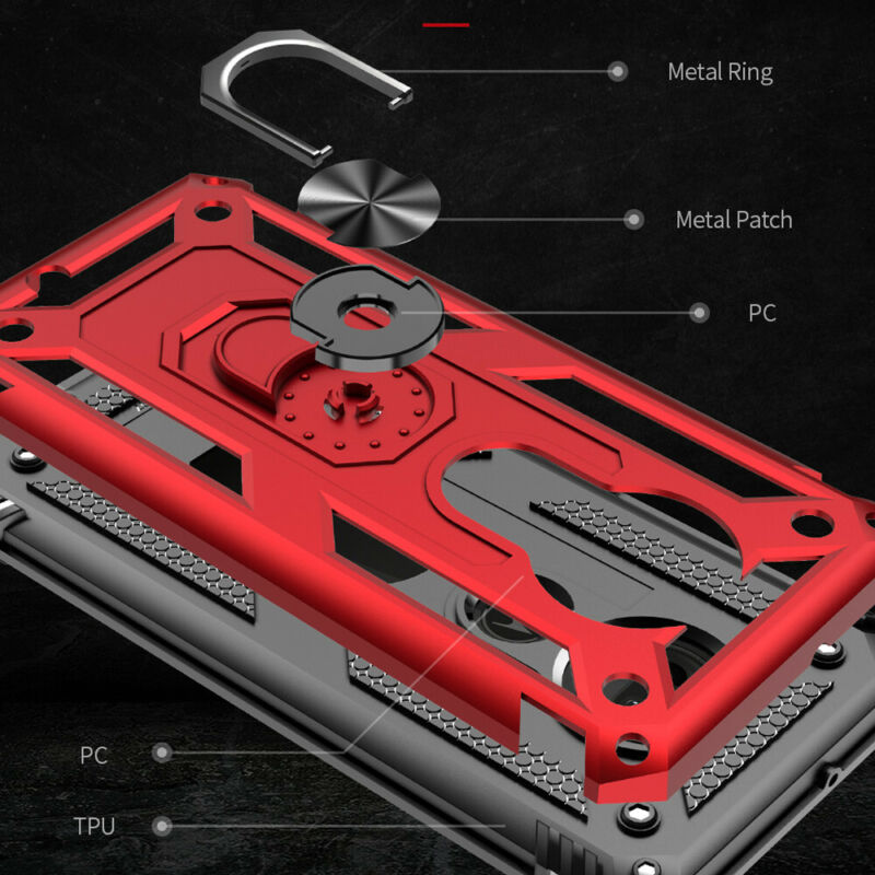 For Motorola Moto E6 G7 Plus/Power/Supra/Play Armor Ring Holder Stand Case Cover 8