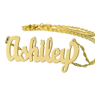 Small 10K Solid Gold Personalized Cursive Monogrammed Name necklace Jewelry NN02