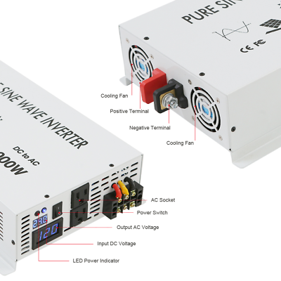 3500Watt Pure Sine Wave Car Power Inverter 12/24V to 120V/220V Remote Control 3
