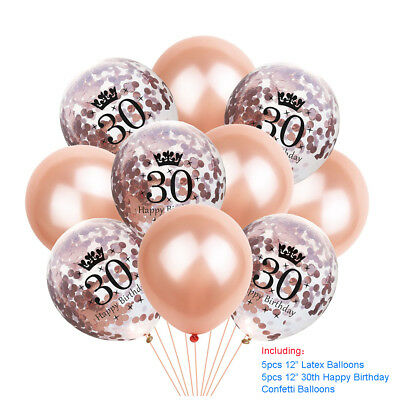Rose Gold Happy Birthday Bunting Banner Balloons 18/21st/30/40/50/60 Party Decor 12